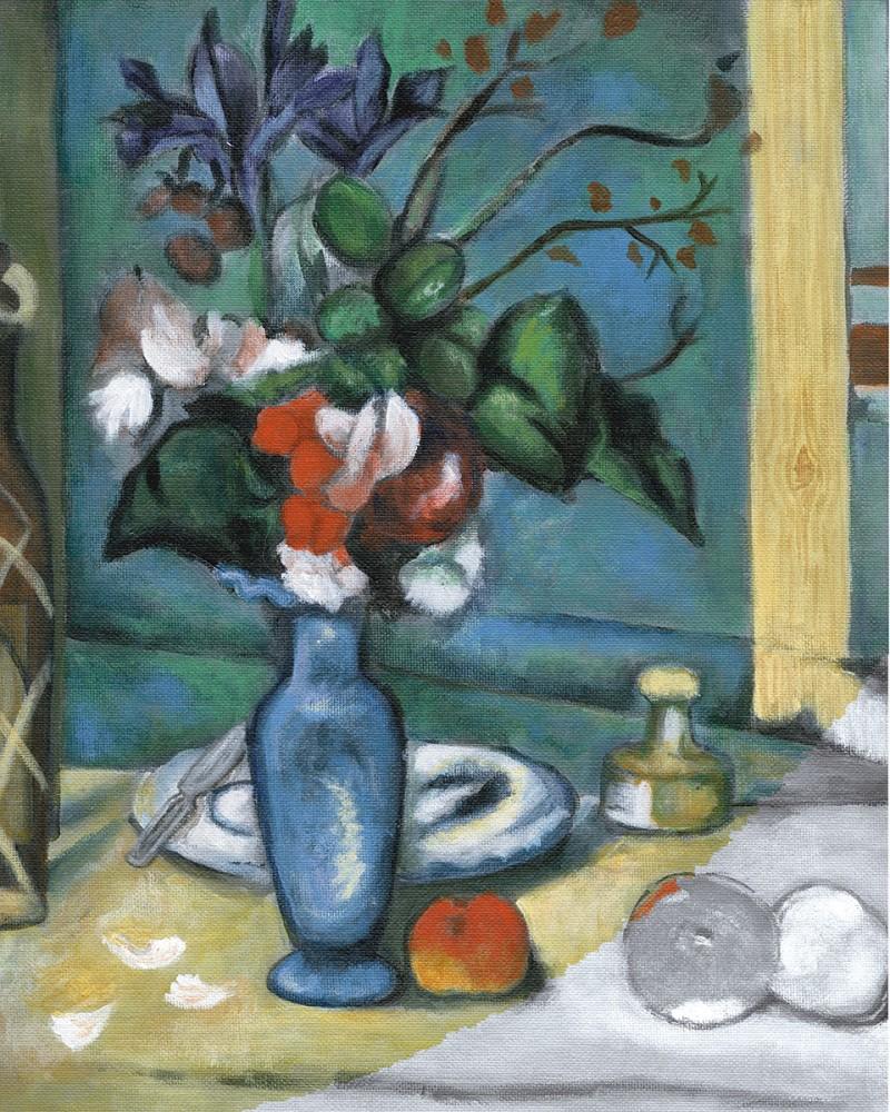 Kifestő készlet vászonra, akrilfestékkel, ecsettel, felnőtteknek - 28x36 cm - Cézanne: Kék váza