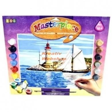 Kifestő készlet számok után akrilfestékkel, ecsettel, gyerekeknek - 30x39 cm - Kikötő vilagitótoronnyal