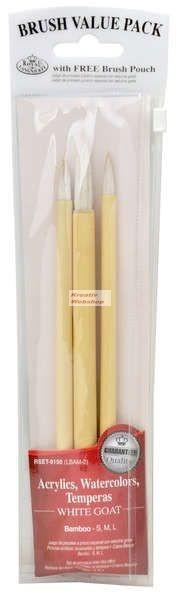 Ecsetkészlet - Fehér kecskeszőr ecsetek bambusznyéllel - 3 darabos