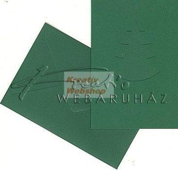 Meghívó készlet - Fenyőfás,zöld színű paszpartu borítékkal