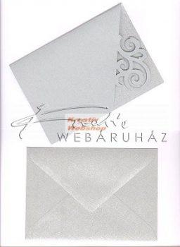Meghívó készlet - Girlandos, metál paszpartu borítékkal