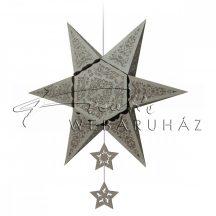 Origami - Csillag forma - Ezüst színű készlet, 16 + 1 db
