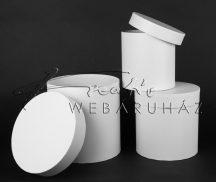 Papírdoboz készlet, 3 db-os, kerek matt fehér 20x20cm a legnagyobb