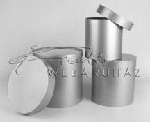 Papírdoboz készlet, 3 db-os, kerek fényes ezüst  20x20cm a legnagyobb