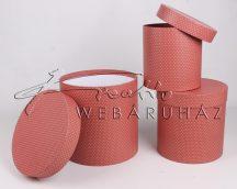 Papírdoboz készlet, 3 db-os, kerek, magas dobozok, rózsaszín alapon apró fehér pöttyös, 20x20cm