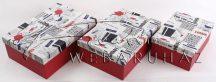 Papírdoboz készlet, 3 db-os, kék oldalú, London mintás tetejű dobozok, 22+25+28 cm-es