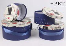 Papírdoboz készlet, 4 db-os, kerek, kék oldalú, London mintás tetejű dobozok, 12x22cm a legnagyobb