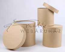 Papírdoboz készlet, 3 db-os, kerek natúr (kraft)  20x20cm a legnagyobb