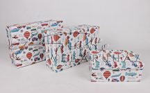 Papírdoboz készlet, 3 db-os, tégla GYEREK JÁRMŰ 28+25+22 cm-es