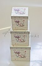 Papírdoboz készlet, 4 db-os, SZ - Belül műanyag borítással, virágos doboz SWEET HOM 12-től 16 cm-ig