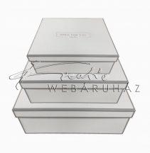 Papírdoboz készlet, 3 db-os, tégla fehér +E.HS.K+OFU 22+25+28 cm