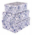 Papírdoboz készlet, 3 db-os, tégla kék VINTAGE 22-28