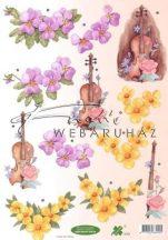 Hegedű Lila és Sárga virággal, Fázisos 3D
