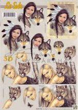 Indián nő farkassal, Szőke nő pumával, Fázisos 3D