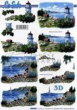 Világítótorony kis házzal és vitorlással, 3D képek
