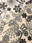 Kreatív hobby - Transzparens papír - Fekete- Fehér Retro virágok