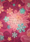 Kartonpapír - Rózsaszínű Retro virág, Karton