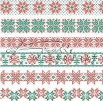 Kreatív hobby - Transzparens papír - Piros-zöld pihe, csillag, norvég