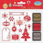Nyomdakészlet - karácsonyi címkék 2 (3 festékpárnával)