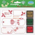 Nyomdakészlet - karácsonyi címkék 4 (3 festékpárnával)