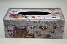 Fém papírzsebkendő tartó doboz fekvő,levendula 22x12x9cm