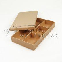 Papírdoboz tetővel - natúr, lapos,  30x16cm, 4cm magas, belül 4 db rekesszel