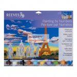 Kreatív hobby - Kifestő készlet akrilfestékkel, ecsettel, felnőtteknek - 30x40 cm - Eiffel torony
