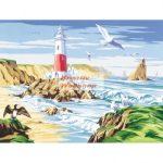 Kreatív hobby - Kifestő készlet akrilfestékkel, ecsettel, felnőtteknek - 30x40 cm - Világítótorony
