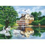 Kreatív hobby - Kifestő készlet akrilfestékkel, ecsettel, felnőtteknek - 30x40 cm - Vízimalom