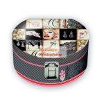 Kreatív hobby - Díszdoboz, kerek ékszeres díszdoboz, 17cm, Madonna