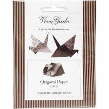 Origami papír - Oslo, barna árnyalatok, egyik oldalan geometrikus mintákkal