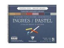 INGRES pasztell-tömb, spirálozott, 8 élénk szín, elválaszólappal 130 g/m2 25 ív 30 x 40 cm