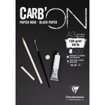 CARB'ON fekete rajzpapír-tömb, anyagában színezett, finom szemcsés, fejragasztott 120 g/m2 20 ív 29,7 x 42,0 A3