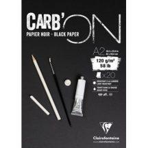 CARB'ON fekete rajzpapír-tömb, anyagában színezett, finom szemcsés, fejragasztott 120 g/m2 20 ív 42 x 59,4 A2