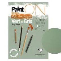 PaintON rajzpapír-tömb, zöldes szürke színű, enyhén szemcsés papír, különböző technikákhoz 250 g/m2 30 ív 14,8 x 21  A3