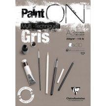 PaintON rajzpapír-tömb, szürke színű, enyhén szemcsés papír, különböző technikákhoz 250 g/m2 30 ív 29,7 x 42,0 A3