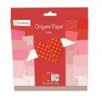 Origami papír - 60 lapos, piros mintás hajtogató készlet 20x20 cm - LOVE