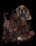Kreatív hobby - Cica és kutya képkarcoló