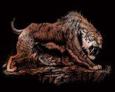 Képkarcoló készlet karctűvel - 20x25 cm - Réz - Kardfogú tigris