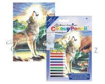 Számozott színező készlet, mini - Farkas az éjszakában