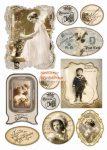 Dekupázs rizspapír A4 - Vintage esküvői képek