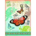 Dekupázs rizspapír A4 - Levelezőlap pillangóval, színes