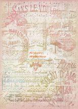 Dekupázs rizspapír A4 - Vintage kotta