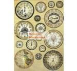 A4 Dekupázs rizspapír Vintage clocks