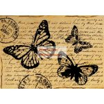 A4 Dekupázs rizspapír Butterly with words