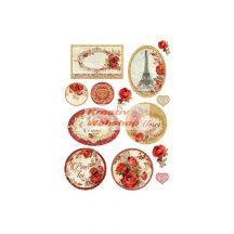 Dekupázs rizspapír A4 csomag - red roses and frames