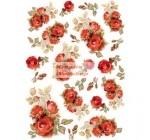 Dekupázs rizspapír A4 csomag - Vörös rózsák