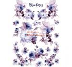 Dekupázs rizspapír A4 csom. - Kék rózsák vízfestékkel