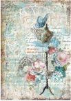 Dekupázs rizspapír A4 - Virágok pillangóval