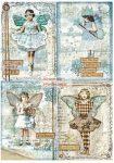 Dekupázs rizspapír A4 - Kék csillagos képeslapok